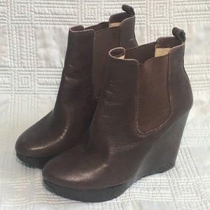 MICHAEL Michael Kors Brown Leather Wedge Booties